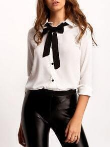 White Lapel Bow Embellished Blouse
