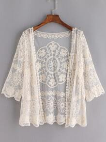 Apricot Sheer Mesh Lace Crop Cardigan