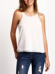 White Round Neck Chiffon Tank Top