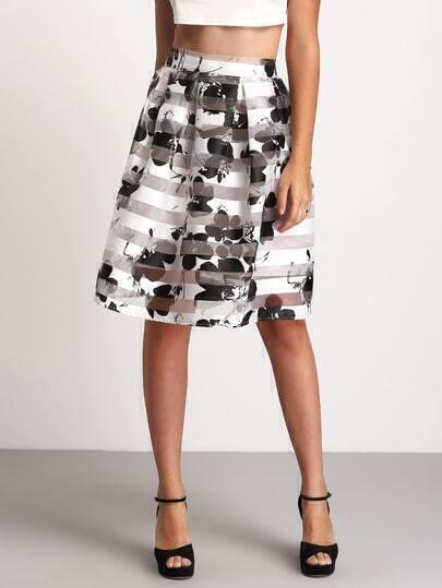 Black White Floral Flare Skirt