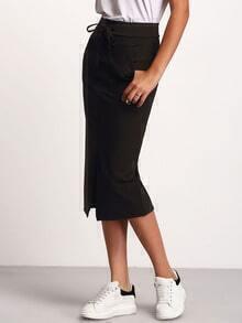 Black Drawstring Waist Split Skirt