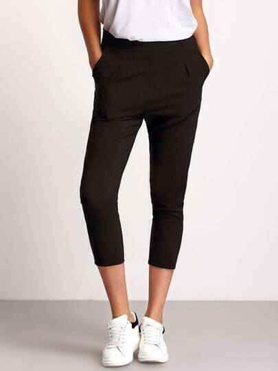 Black Slim Pockets Crop Pant