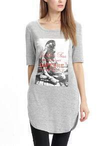 Grey Print Dolphin Hem T-shirt Dress
