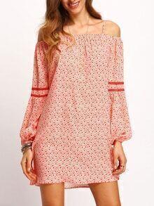 Off The Shoulder Lantern Sleeve Print Dress