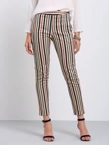 Multicolor Vertical Stripe Pockets Skinny Pants