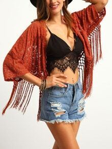 Orange Embroidery Scallop Fringed Kimono