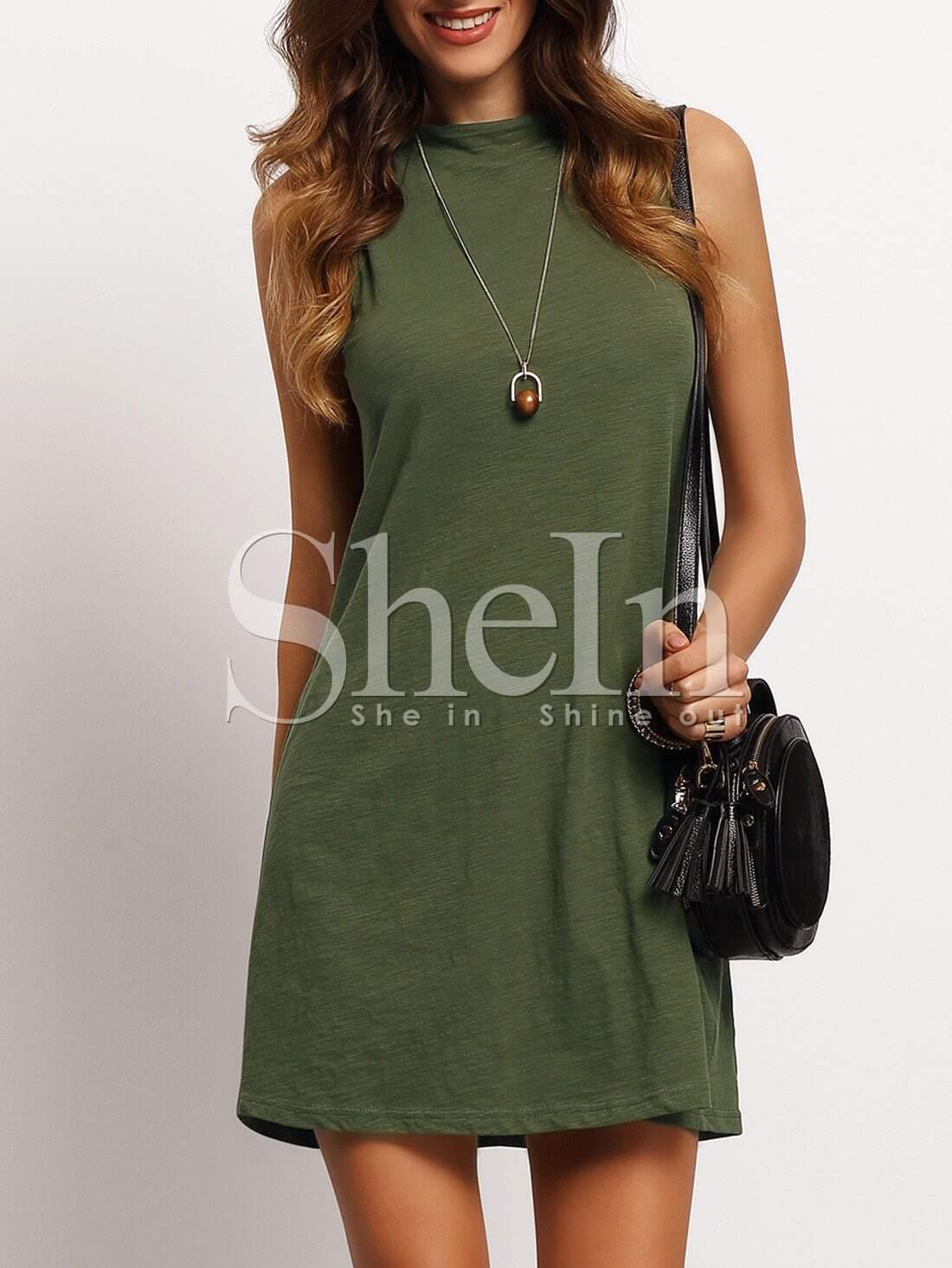Blackish Green Mock Neck Sleeveless T-shirt Dress dress160310705