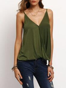 Army Green Wrap Spaghetti Strap Camis Top