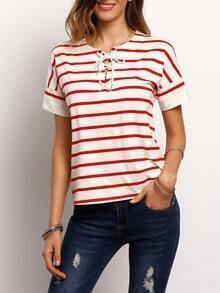 White Red Stripe Lace Up Front T-shirt