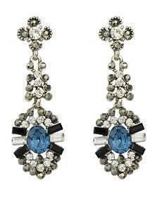 Silver Flower Water Drop Earrings