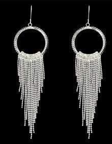 Silver Long Tassel Dangle Earrings
