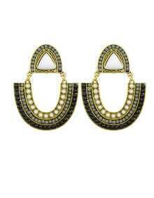 Black Bead Dangle Earrings