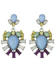 Purple Rhinestone Flower Drop Earrings