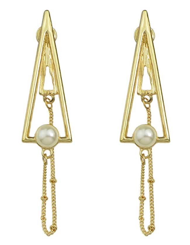 geometric gold triangle drop earrings shein sheinside. Black Bedroom Furniture Sets. Home Design Ideas