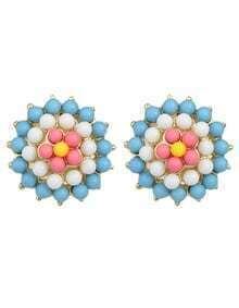 Blue Gemstone Beads Flower Earrings