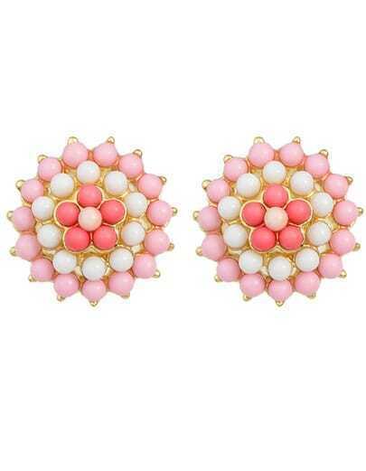 Pink Gemstone Beads Flower Earrings