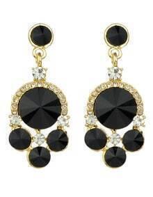 Black Rhinestone Geometric Drop Earrings