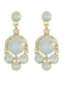 White Rhinestone Geometric Drop Earrings