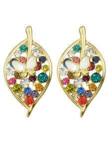 Gold Rhinestone Leaf Stud Earrings