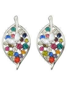 Silver Rhinestone Leaf Stud Earrings