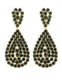 Green Rhinstone Drop Earrings