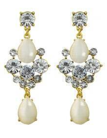 Pearl Rhinestone Water Drop Earrings