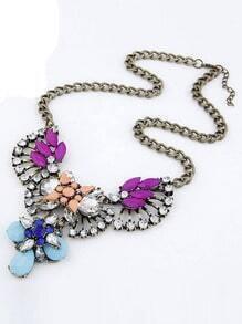 Orange Drop Gemstone Fan-shaped Necklace