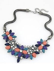 Multicolor Gemstone Flower Shaped Necklace