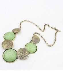 Green Gemstone Metallic Round Necklace