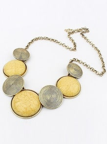 Yellow Gemstone Metallic Round Necklace