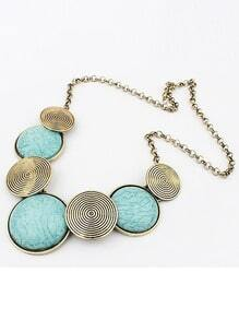 Blue Gemstone Metallic Round Necklace
