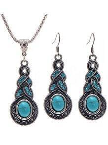 Blue Gemstone Vintage Jewelry Set