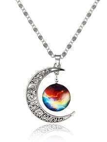 Silver Sun Moon Pendant Necklace