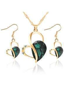Green Heart Drop Crystal Jewelry Set