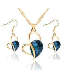 Blue Heart Drop Crystal Jewelry Set