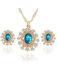 Blue Crystal Rhinestone Snowflake Jewelry Set