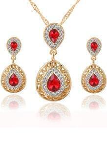 Red Drop Crystal Rhinestone Jewelry Set