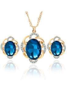 Blue Crystal Rhinestone Jewelry Set