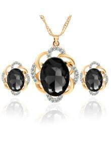 Black Crystal Rhinestone Jewelry Set