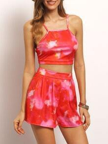 Red Spaghetti Strap Floral Top With Skirt