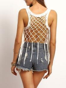 White Hollow Back Tassel Cami Top