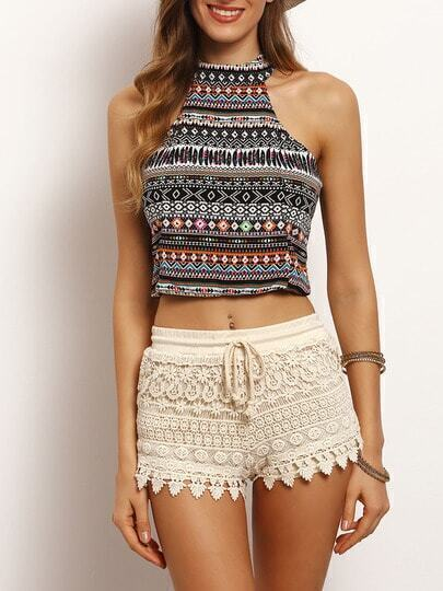 Multicolor Tribal Print Chiffon Tank Top