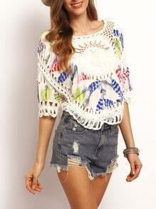 Multicolor Hollow Feather Print Loose Top