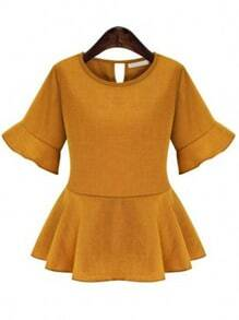 Yellow Round Neck Half Sleeve Ruffle Blouse