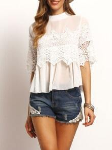 White Crew Neck Lace Chiffon Blouse