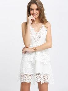White Spaghetti Strap Hollow Lace Flare Dress