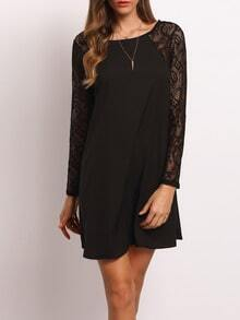 Black Crew Neck Lace Hollow Back Dress