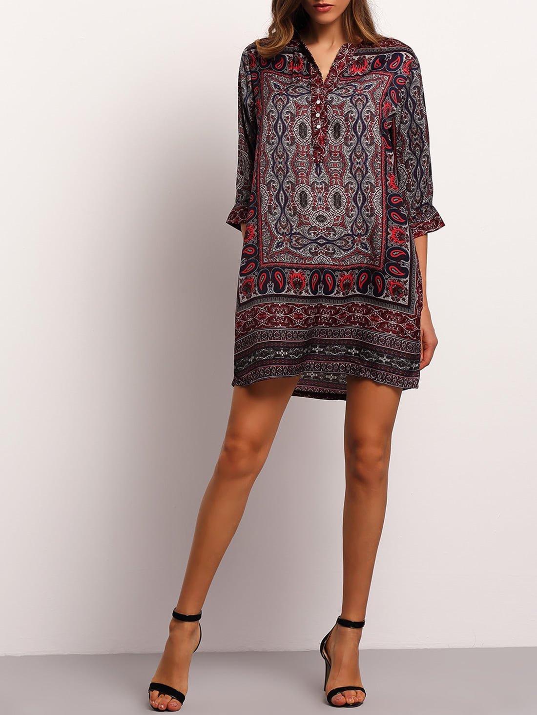 Multicolor V Neck Tribal Print Shirt Dress