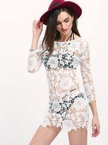 White Round Neck Hollow Lace Dress
