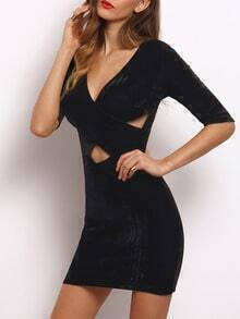 Black V Neck Hollow Bodycon Dress